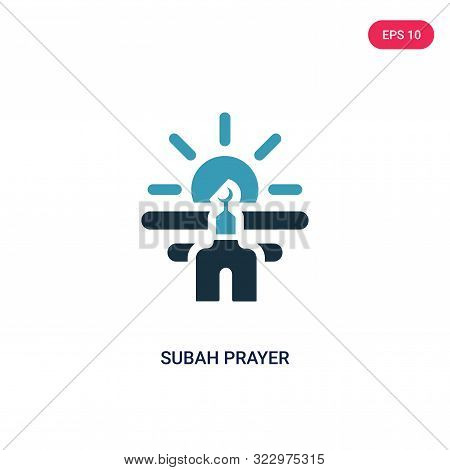 subah prayer icon in two color design style. subah prayer vector icon modern and trendy flat symbol for web site, mobile, app, logo, UI. subah prayer colorful isolated icon on white background. subah prayer icon simple vector illustration, EPS10.