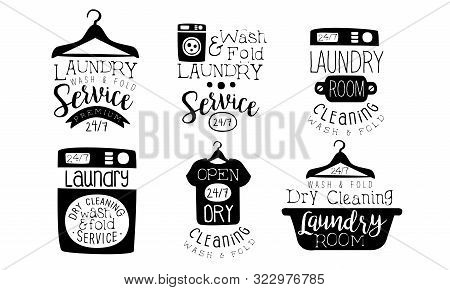 Laundry Service, Wash And Fold Labels Set, Dry Cleaning Laundry Room Vintage Hand Drawn Badges Monoc