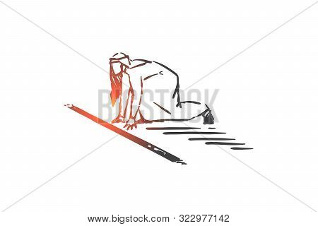 Business Competition Preparation Concept Sketch. Corporate Race, Arab Wait In Running Position, Musl