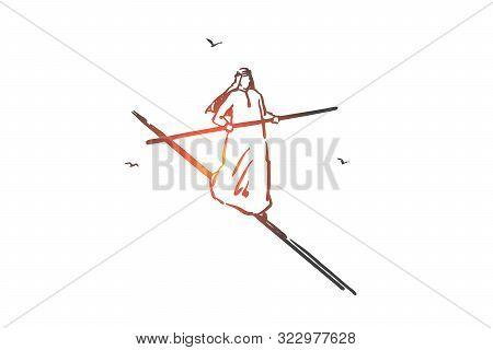 Business Risk Management Concept Sketch. Balance, Equilibrium, Risky Situation Metaphor, Confident A