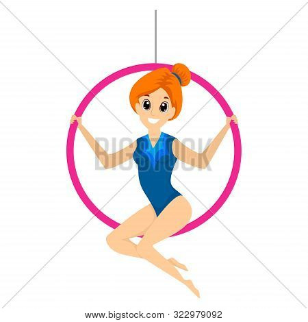 Vector Illustration Of A Trapeze Girl Sitting On The Ring