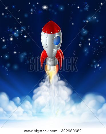 A Cartoon Rocket Lifting Off Or Launching In Front Of A Star Filled Sky