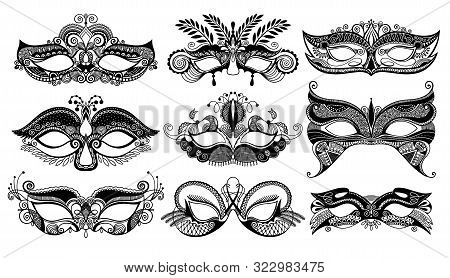 Set Of 9 Venetian Carnival Facial Masks, Mardi Gras Carnival Beautiful Mask Collection