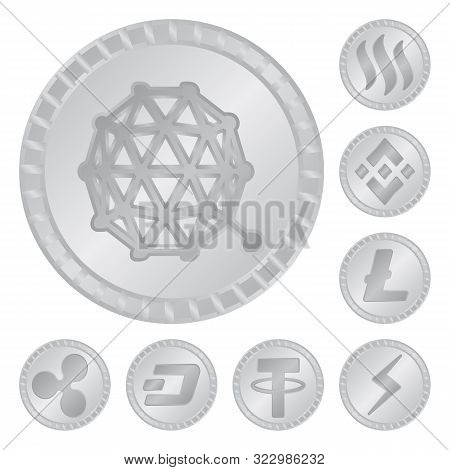 Vector Illustration Of Cryptography And Finance Logo. Set Of Cryptography And E-business Stock Symbo