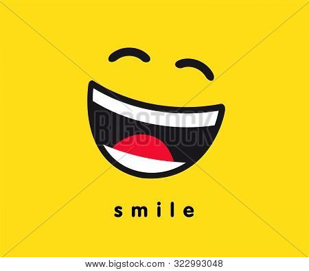 Smile Wink Icon Template Design. Smiling Emoticon Vector Logo On Yellow Background. Emoji Joy In Lin