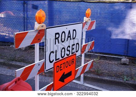 Road Signs Informing About Road Closures And Detours. Road Works.