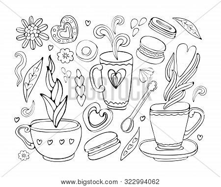Vector Collection Of Doodle Tea And Coffee Hand Drawn In Outline. Tea Time Elements Collection. Set