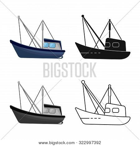 Vector Illustration Of Fishery And Trawler Icon. Set Of Fishery And Naval Stock Vector Illustration.