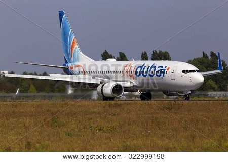 Borispol, Ukraine - September 10, 2019: A6-feu Flydubai Boeing 737-800 Aircraft Landing On The Runwa