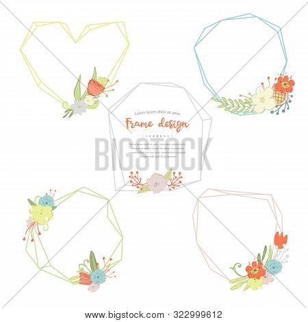 Vector Geometric And Poligonal Frames And Bouquets Of Flowers, Compositions From Different Field And