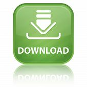 Download icon with text on green glossy square button poster
