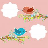 two birds in the trees with speech bubbles on floral tree branch poster