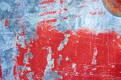 Rusty metal with red scratched paint. Abstract background texture. poster