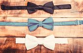 Fashion accessory. Esthete detail. Fix bow tie. Groom wedding. Textile fabric bow close up. Modern formal style. Menswear clothes. Perfect outfit. Tying bow tie. Wedding accessories poster