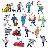 Set or collection of cartoon mascot style illustration of tradesman, surveyor, plumber, cleaner, paramedic, policeman, lion trainer, locksmith, gardener, glassmaker, carpet layer, cameraman and barber on isolated background. poster