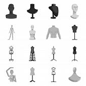 Vector design of mannequin and fashion icon. Collection of mannequin and manikin stock symbol for web. poster