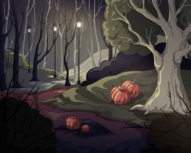 Creepy Forest Landscape With Trees, Swamp, Lanterns And Pumpkins. Mysterious Scenery Background. Vec