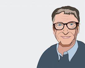 Sept, 2019 Bill Gates Editorial Illustration. Vector Portrait On A Gray Background.