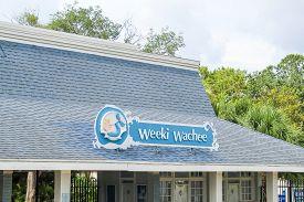 Weeki Wachee Mermaid Sign At Weeki Wachee State Park - Weeki Wachee Florida July 7, 2019