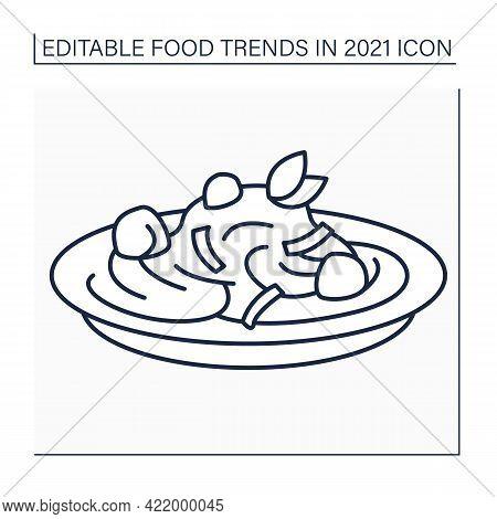 Pasta Recipes Line Icon. Cajun Chicken Pasta. Tasty Dish With Chicken Breast And Cream Sauce. Food T