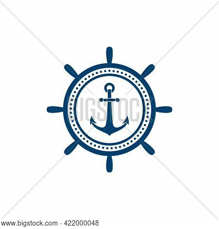 Nautical Black Helm And Anchor Label Isolated On White. Ship And Boat Steering Wheel Sign. Rudder La