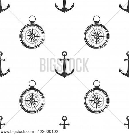 Nautical Seamless Pattern With Black Helms, Anchors And Compass On White. Ship And Boat Steering Whe