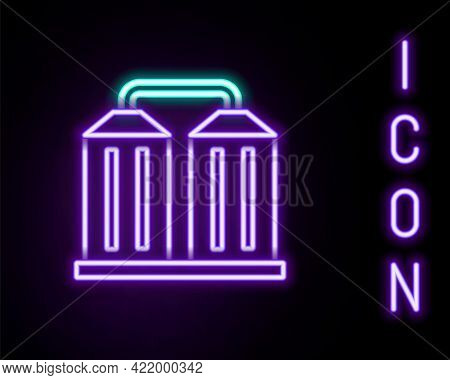 Glowing Neon Line Granary Icon Isolated On Black Background. Silo With Grain, Elevator, Granary, Fac
