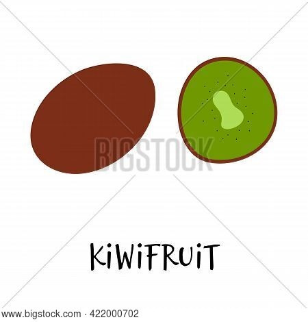 Vector Illustration Of Kiwifruit In Hand Drawn Flat Style.