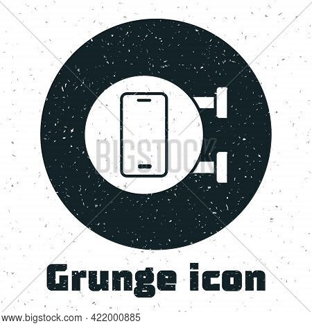 Grunge Phone Repair Service Icon Isolated On White Background. Adjusting, Service, Setting, Maintena