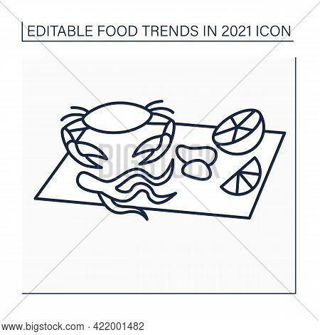 Seafood Boils Line Icon. Fresh Crab, Lemon, Clams. Boiled In Flavorful Broth. Season Dish. Food Tren