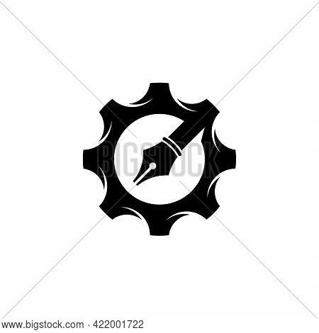 Gear And Pen Logo Designs Concept Vector, Gear Mechanic Logo Designs