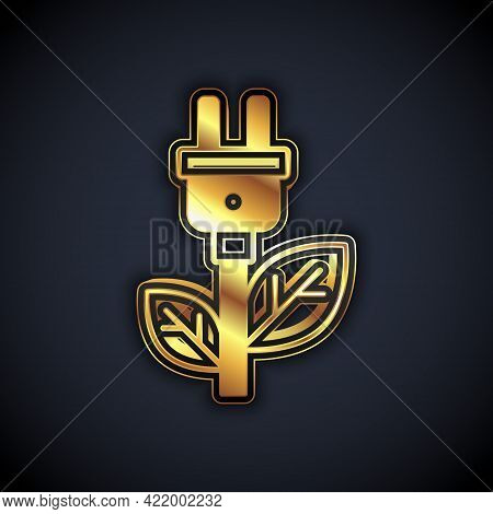Gold Electric Saving Plug In Leaf Icon Isolated On Black Background. Save Energy Electricity. Enviro