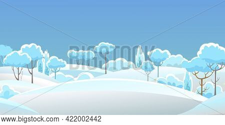 Rural Winter. Snowy Beautiful Landscape. Cartoon Style. Snowdrifts. Hills And Trees. Snow. Frosty Co