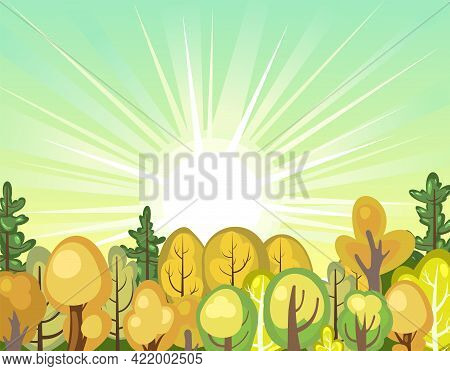 Flat Autumn Forest. Landscape With Trees. Illustration In A Simple Symbolic Style. Sunrise. A Funny