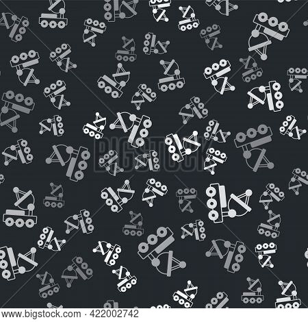 Grey Mars Rover Icon Isolated Seamless Pattern On Black Background. Space Rover. Moonwalker Sign. Ap