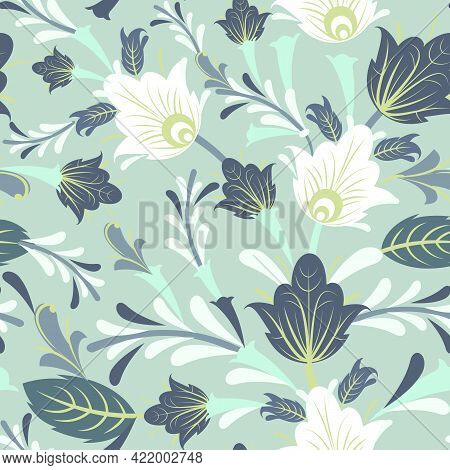 Floral Ornament. Seamless Pattern. Nice Interlacing Of Branches And Flowers. Illustration In A Simpl