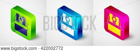 Isometric Astronomical Observatory Icon Isolated On Grey Background. Observatory With A Telescope. S