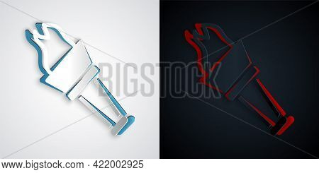 Paper Cut Torch Flame Icon Isolated On Grey And Black Background. Symbol Fire Hot, Flame Power, Flam