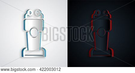Paper Cut Stage Stand Or Debate Podium Rostrum Icon Isolated On Grey And Black Background. Conferenc