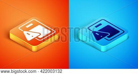 Isometric Global Economic Crisis Icon Isolated On Orange And Blue Background. World Finance Crisis.