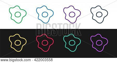 Set Line Scrambled Eggs Icon Isolated On Black And White Background. Home Cooked Food, Fried Egg, He