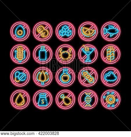 Allergen Free Products Neon Light Sign Vector. Glowing Bright Icon Allergen Free Food, Drink Pictogr