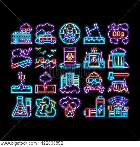 Pollution Of Nature Neon Light Sign Vector. Glowing Bright Icon Environmental Pollution, Chemical, R