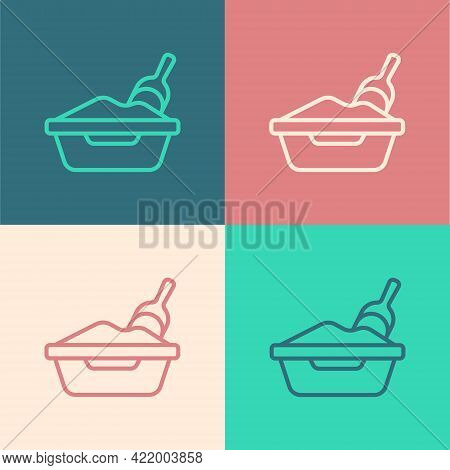 Pop Art Line Cat Litter Tray With Shovel Icon Isolated On Color Background. Sandbox Cat With Shovel.
