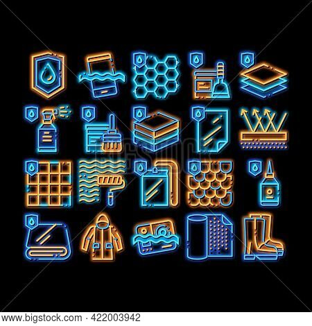 Waterproof Materials Neon Light Sign Vector. Glowing Bright Icon Waterproof Material For Personal, I