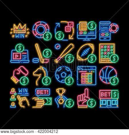 Betting And Gambling Neon Light Sign Vector. Glowing Bright Icon Basketball And Baseball, Hockey And