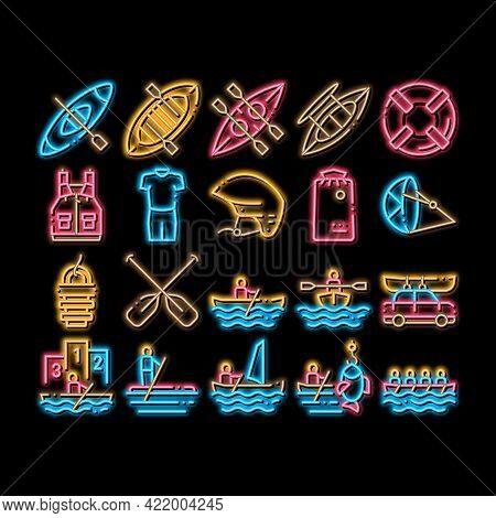 Canoeing Elements Neon Light Sign Vector. Glowing Bright Icon Canoe Transportation On Car And Canoen
