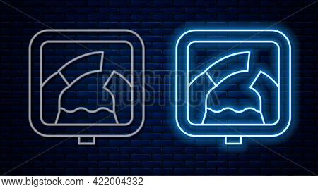 Glowing Neon Line Drawbridge Ahead Icon Isolated On Brick Wall Background. Information Road Sign. Ve