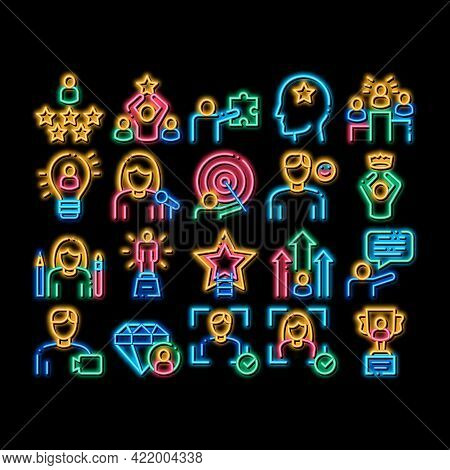 Human Talent Elements Neon Light Sign Vector. Glowing Bright Icon Idea And Target, Diamond And Star,