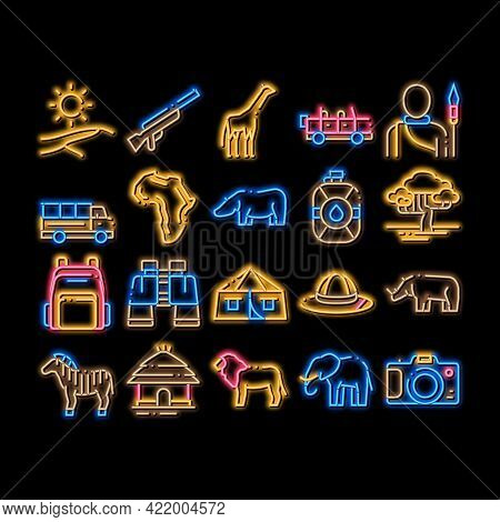 Safari Travel Elements Neon Light Sign Vector. Glowing Bright Icon Animal And Africa, Car And Tree,